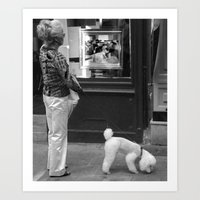 Woman with poodle Art Print