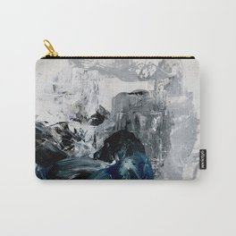 Abstract Grey and Blue Carry-All Pouch