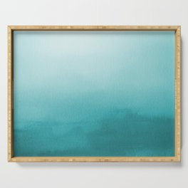 Aqua Teal Turquoise Watercolor Ombre Gradient Blend Abstract Art - Aquarium SW 6767 Serving Tray