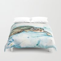 sea turtle Duvet Covers featuring Sea Turtle by Veronica Cabrera