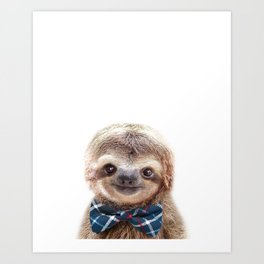 Baby Sloth With Bow Tie, Baby Animals Art Print By Synplus Art Print