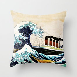 BIG SHIP big wave Throw Pillow
