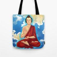 buddah Tote Bags featuring Adeptu Buddah by Conversa entre Adeptus