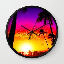 Sunset on Waikiki Wall Clock