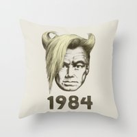 1984 Throw Pillows featuring 1984 by Eric Fan
