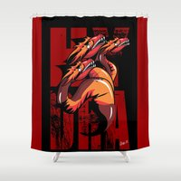 hydra Shower Curtains featuring Hydra by John Hernandez Art