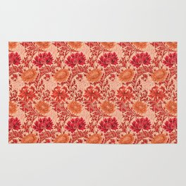 William Morris Chrysanthemums, Coral Orange Rug