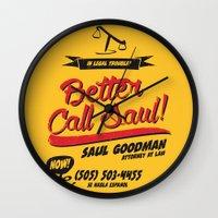 better call saul Wall Clocks featuring Better Call Saul by Krikoui