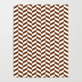 Chocolate Brown Herringbone Pattern Poster
