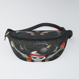 Pirate Skull, Ancient Guns, Flowers and Cannonballs Fanny Pack