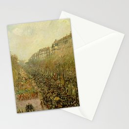 Boulevard Montmartre, Marti Gras by Camille Pissarro Stationery Cards