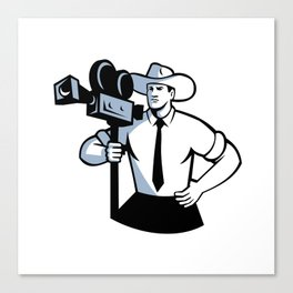 Cowboy Cameraman Vintage Movie Camera Retro Canvas Print