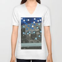 code V-neck T-shirts featuring Morse Code by Naomi Vona