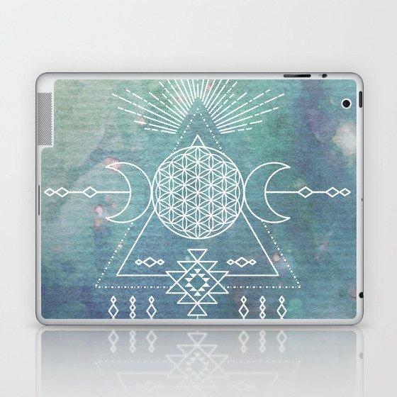 Mandala Flower of Life in Turquoise Stars Laptop & iPad Skin