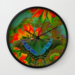 Extreme Emerald Swallowtail Butterfly Wall Clock