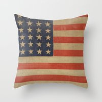 flag Throw Pillows featuring Flag by ART SHOP