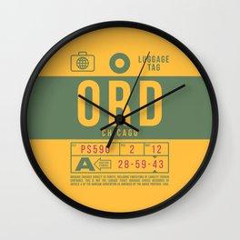 Baggage Tag B - ORD Chicago O'Hare USA Wall Clock