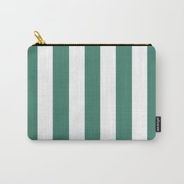 Viridian blue - solid color - white vertical lines pattern Carry-All Pouch