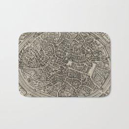 Vintage Map of Bruges Belgium (1612) Bath Mat
