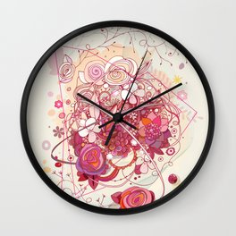 Floral universe orbit Wall Clock