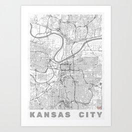 Kansas City Map Line Art Print