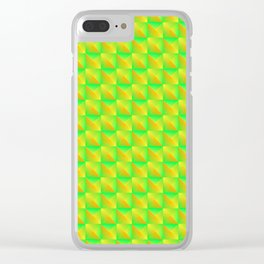 Pyromidal pattern of green squares and striped yellow triangles. Clear iPhone Case