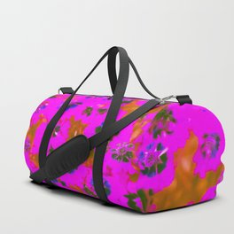 blooming pink flower with brown background Duffle Bag