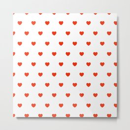 HEARTS ((cherry red on white)) Metal Print