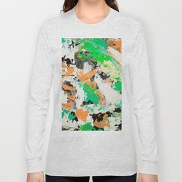 Tropical vibes black salmon white green neon abstract acrylic paint Long Sleeve T-shirt