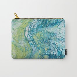 Blue, Green & Grey Acrylic Pour Carry-All Pouch