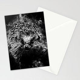 hedgehog watercolor splatters black white Stationery Cards