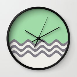 Pastel Green, Gray & Linen White Wavy Stripes 2 Pairs to Coloro 2020 Color of the Year Neo Mint Wall Clock