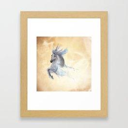 Dancing white horse Framed Art Print