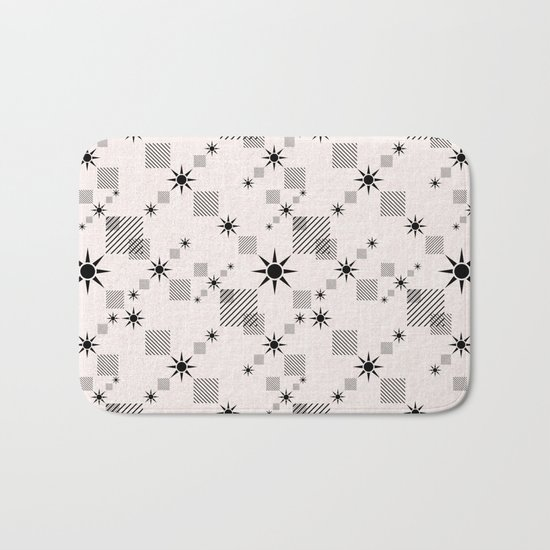 Abstract black pattern on a cream background Bath Mat