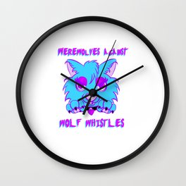 Werewolves against wolf whistles Wall Clock
