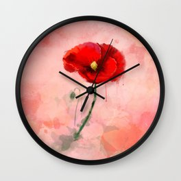 Red Poppy watercolor digital painting Wall Clock