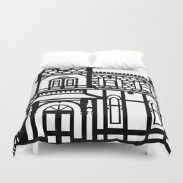 Old Victorian House - black & white Duvet Cover