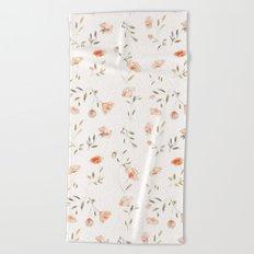 Watercolor Floral Pattern Beach Towel