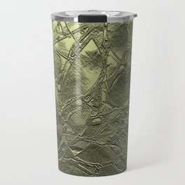 Metal Gold Grunge Relief Floral Abstract G164 Travel Mug