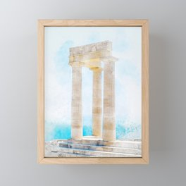 famous greece temple pillar against clear blue sky and sea Framed Mini Art Print