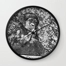 AnimalArtBW_Chimpanzee_20170605_by_JAMColorsSpecial Wall Clock