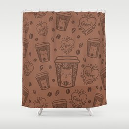 Doodle coffee cat Shower Curtain
