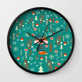 Cute fox waiting for Christmas Wall Clock