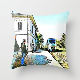 Fognano: train arriving at the station Throw Pillow