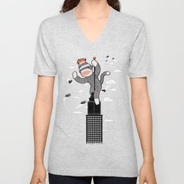 Sock Monkey Unisex V-Neck