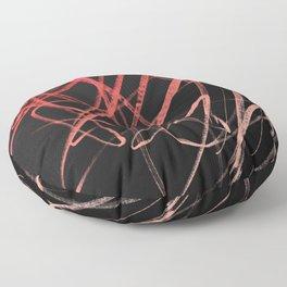 Salmon Pink Wavy Lines on Black Floor Pillow