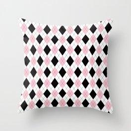 Pink, Black, White Argyle Pattern Throw Pillow