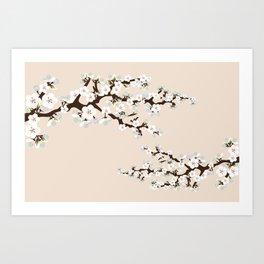 Japanese Sakura Cherry Blossoms (ivory/white) Art Print