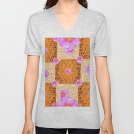 Quilted Style Fuchsia Pink Wild Rose Orange Pattern Abstract Unisex V-Neck