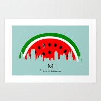 watermelon Art Prints featuring watermelon by mark ashkenazi